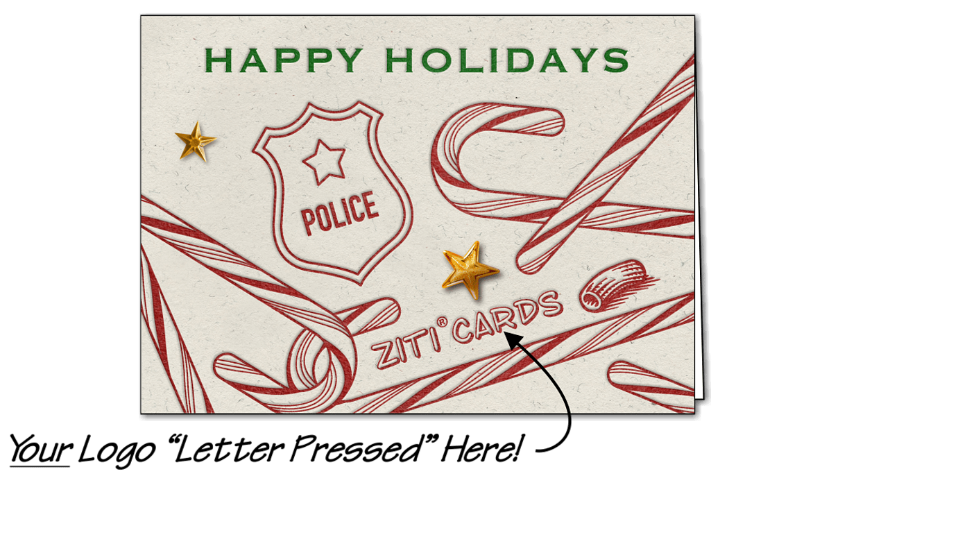 Police Logo Candy Canes (Glossy White)